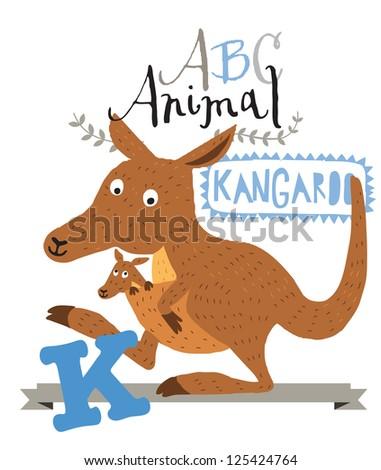 ABC animals: K is for kangaroo. Vector Graphics - stock vector