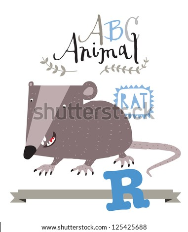 ABC animals: R is for rat. Vector Graphics - stock vector