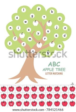 Abc Apple Tree Letter Matching Preschoolers Stock Vector