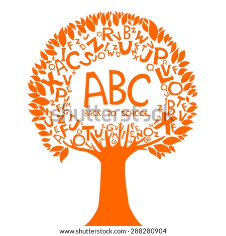 Abc. Back to school. Abstract background with letters. Vector illustration. - stock vector