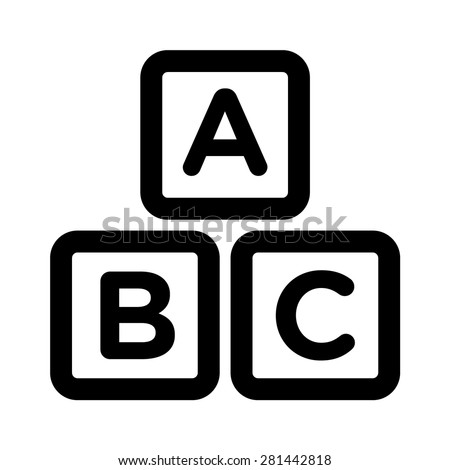 ABC blocks / ABC cubes child education line art icon for apps and websites - stock vector
