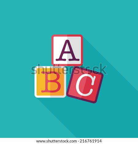 ABC blocks flat icon with long shadow,eps10 - stock vector