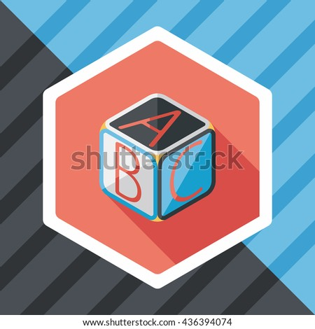 ABC blocks flat icon with long shadow,EPS 10 - stock vector
