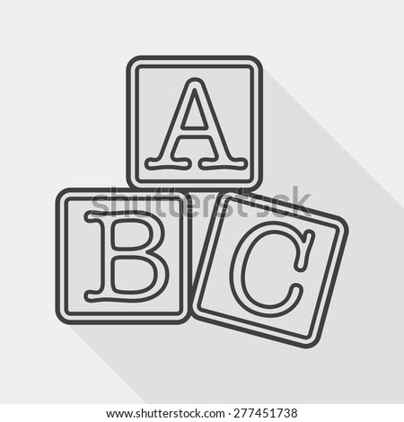 ABC blocks flat icon with long shadow, line icon - stock vector