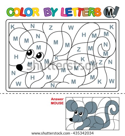 ABC Coloring Book for kids. Color by letter. Learn to write capital letters of the English alphabet. Puzzle for children. Mouse. M - stock vector