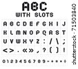 ABC font with slots, black on white background. Roman alphabet (A, B, C, D, E, F, G, H, I, J, K, L, M, N, O, P, Q, R, S, T, U, V, W, X, Y, Z) and Arabic numerals (0, 1, 2, 3, 4, 5, 6, 7, 8, 9). - stock photo