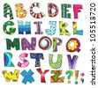 ABC. Kids funny alphabet, vector - stock photo
