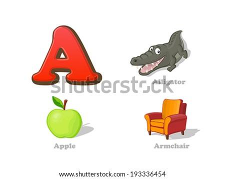 ABC letter A funny kid icons set: alligator, apple, armchair.  Alphabet children education collection. - stock vector