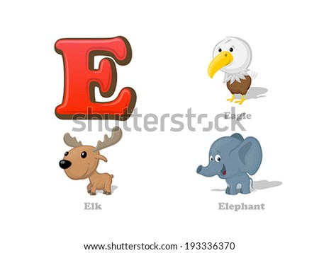 ABC letter E funny kid icons set: eagle, elk, elephant.  Alphabet children education collection. - stock vector