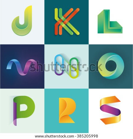 ABC of logo idea set of letters J K L M N O P R S set - stock vector