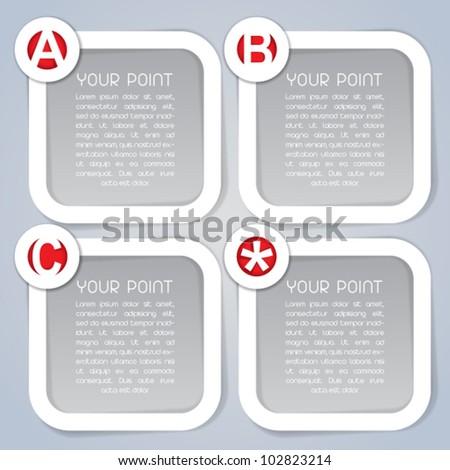 ABC, Square Progress vector Labels in white - stock vector