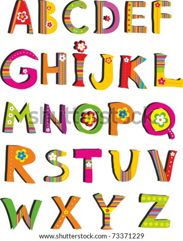 ABC. vector flower font. Alphabet design in a colorful style.