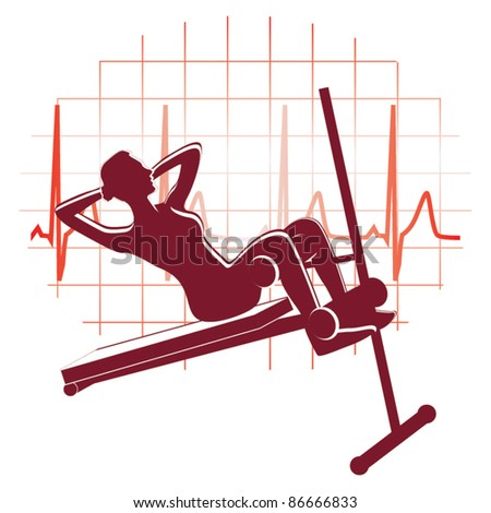 Abdominal exercise icon vector - stock vector