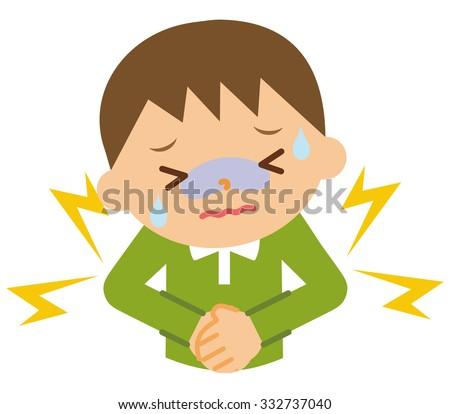 Abdominal pain child - stock vector