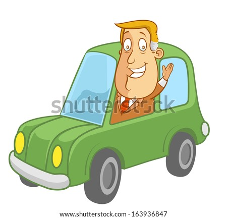 Abe the Businessman - Driving a car and waving