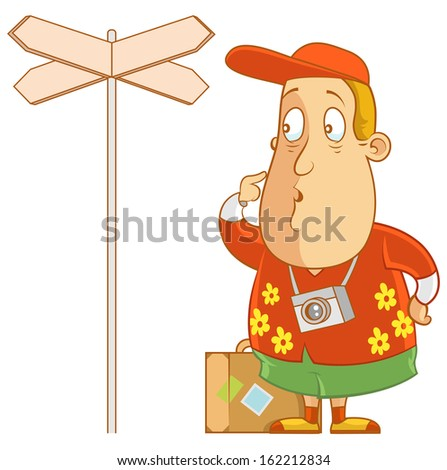 Abe The Tourist - Confused by directional sign - stock vector