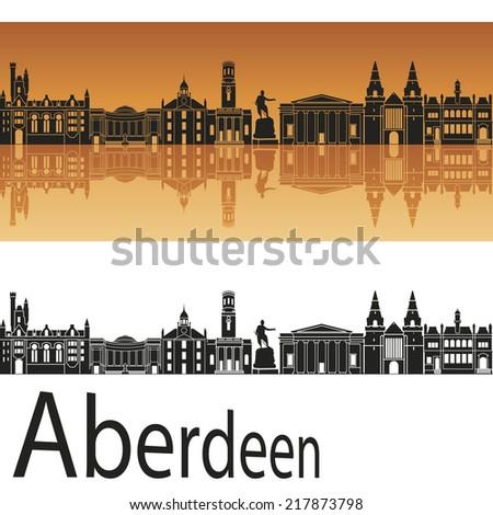 Aberdeen skyline in orange background in editable vector file - stock vector