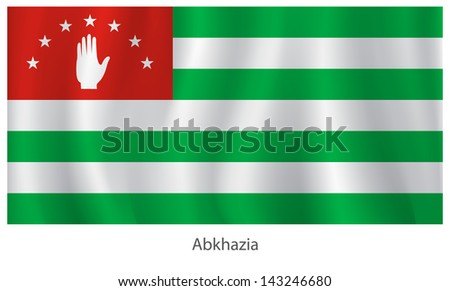 Abkhaz vector flag with title