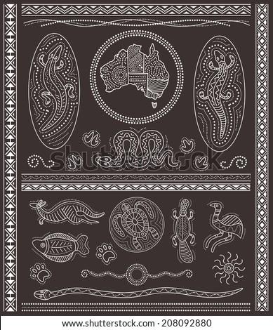 Aboriginal / Australian vector design elements - stock vector