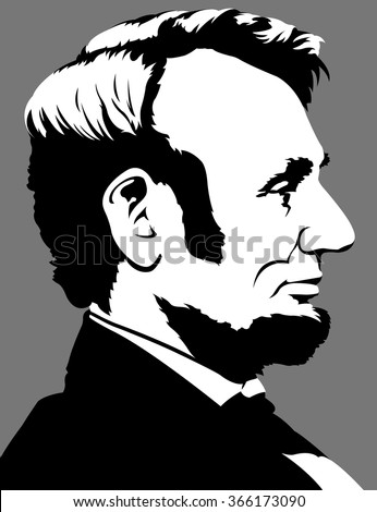 Abraham Lincoln in profile view - stock vector
