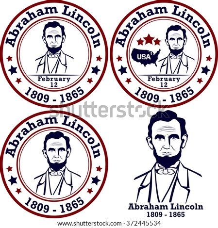 Abraham Lincoln stamps. American president, vector illustration - stock vector