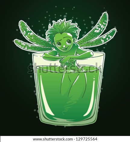 Absinthe Green Fairy, vector - stock vector