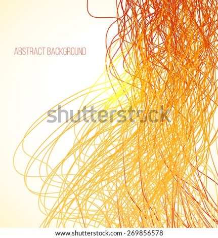 Absract orange bright background with lines. Vector illustration - stock vector