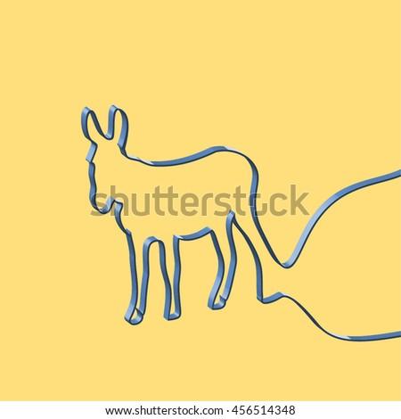 Abstact ribbon forms a donkey, vector illustration - stock vector