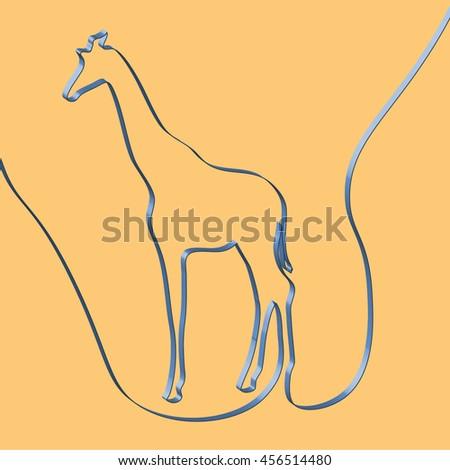 Abstact ribbon forms a giraffe, vector illustration - stock vector