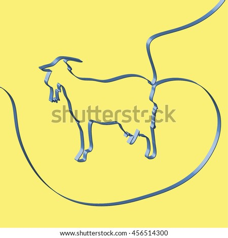 Abstact ribbon forms a goat, vector illustration - stock vector
