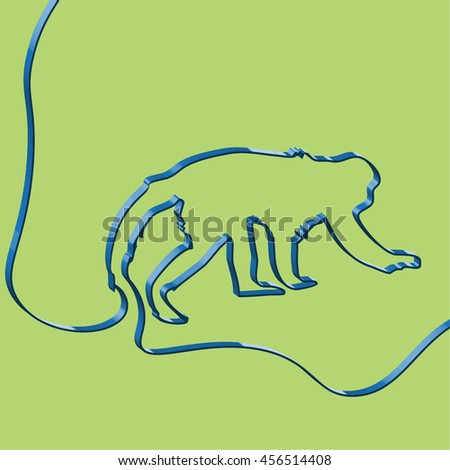 Abstact ribbon forms a monkey, vector illustration - stock vector