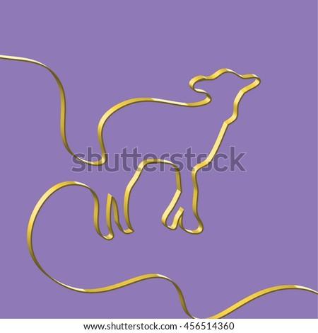 Abstact ribbon forms a sheep, vector illustration - stock vector