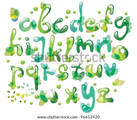 Abstract ABC,green alphabet with leaves,vector illustration