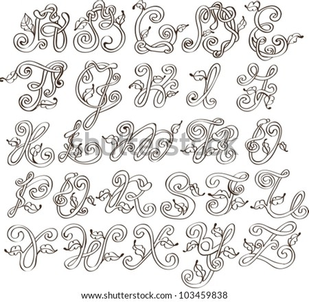 Abstract ABC,natural alphabet with leaves, vector illustration - stock vector