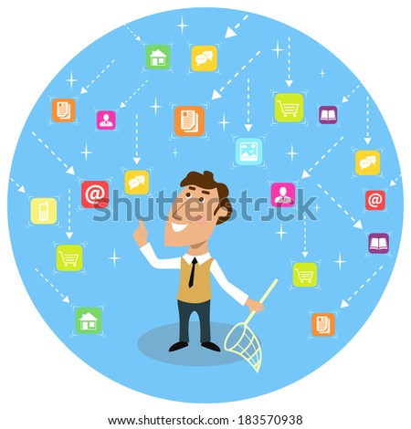 Abstract adult business man with net social communication concept vector illustration