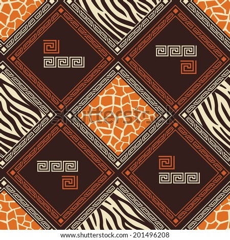 Abstract African seamless pattern with wild animals skins. Vector - stock vector