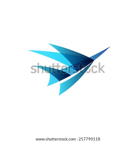 Abstract airplane stylized logo. Sign of a blue bird rise up. - stock vector