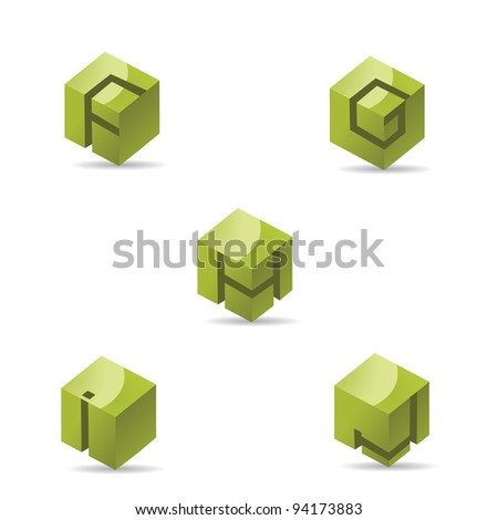 Abstract Alphabet Symbols Icons F through J - stock vector