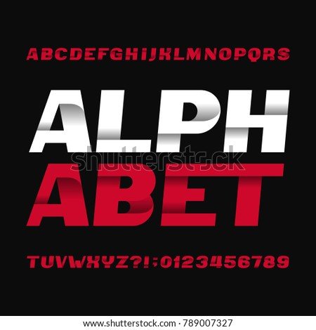 Abstract alphabet typeface. Type letters and numbers. Dark background. Vector font for your headers or any typography design.