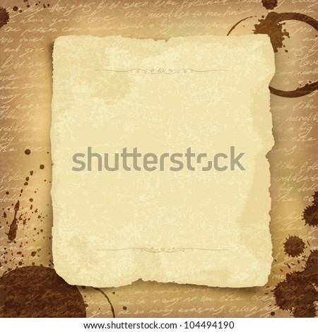 Abstract ancient manuscript background with space for text. Vector, EPS10 - stock vector