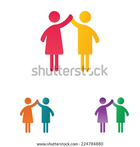 Abstract and simple pictogram showing a happy family. - stock vector