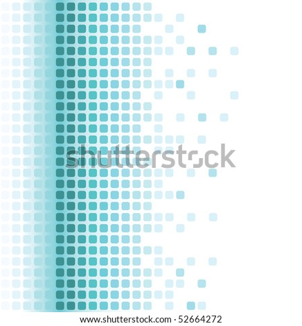 abstract aqua rounded square mosaic background - stock vector