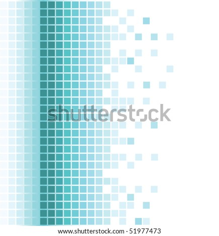 abstract aqua square pixel mosaic background - stock vector