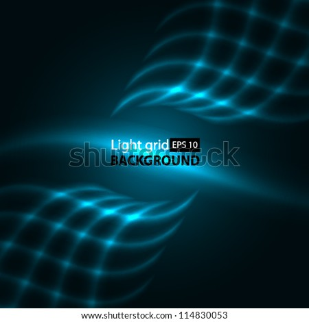 Abstract aquamarine background. Glowing grid.