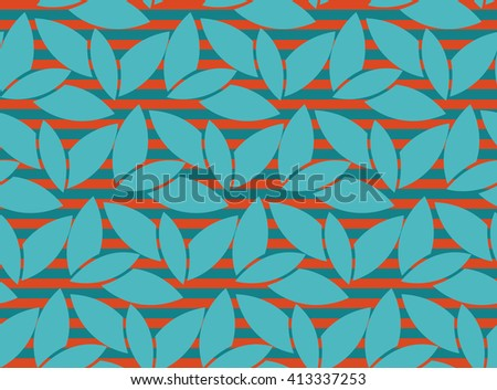 Abstract aquamarine leaf seamless pattern with lines