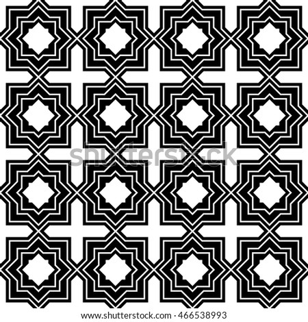 Abstract arabic geometric tile black and white hipster fashion pillow pattern