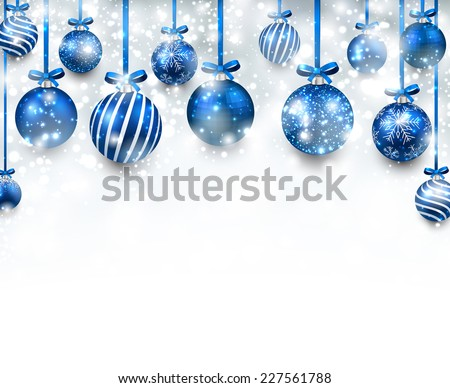 Abstract arc background with blue christmas balls. Vector illustration.  - stock vector