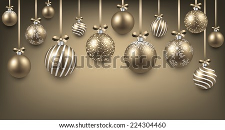 Abstract arc background with golden christmas balls. Vector illustration.  - stock vector
