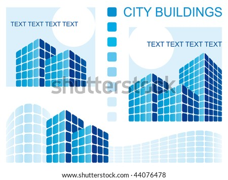 Abstract architectural composition of city skyscrapers - stock vector