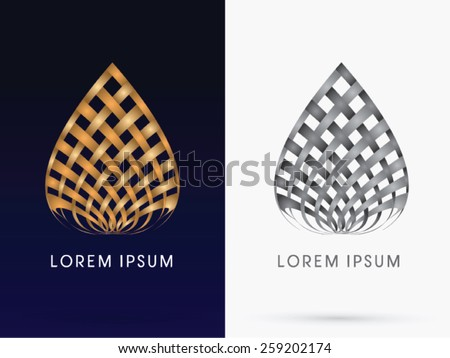 Abstract architecture, Building, lotus, designed using wicker gold and black line,logo, symbol, icon, graphic, vector. - stock vector